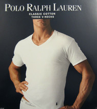 3 POLO RALPH LAUREN MENS COTTON BLACK V-NECK T-SHIRTS UNDERSHIRTS S M L ... - $33.56+