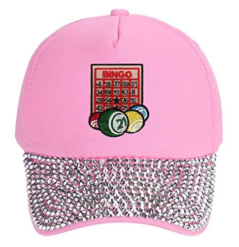 Bingo Hat - Adjustable Women's Cap (Rhinestone Pink)