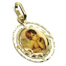 Anhänger Medaille, Gelbgold 750 18K, Engel Schutzengel, Doppel Rahmen, Politur image 2