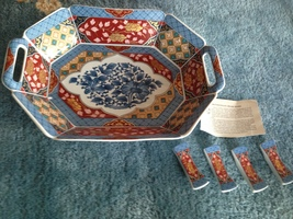 """Smithsonian Imari Ware Japanese porcelain bowl 12"""" x 9"""" with set of 4 ch... - $99.99"""
