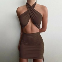 Halter Solid Pleated Mini Nightclub Dress Women Summer Hot Sexy Party Cl... - $25.24+
