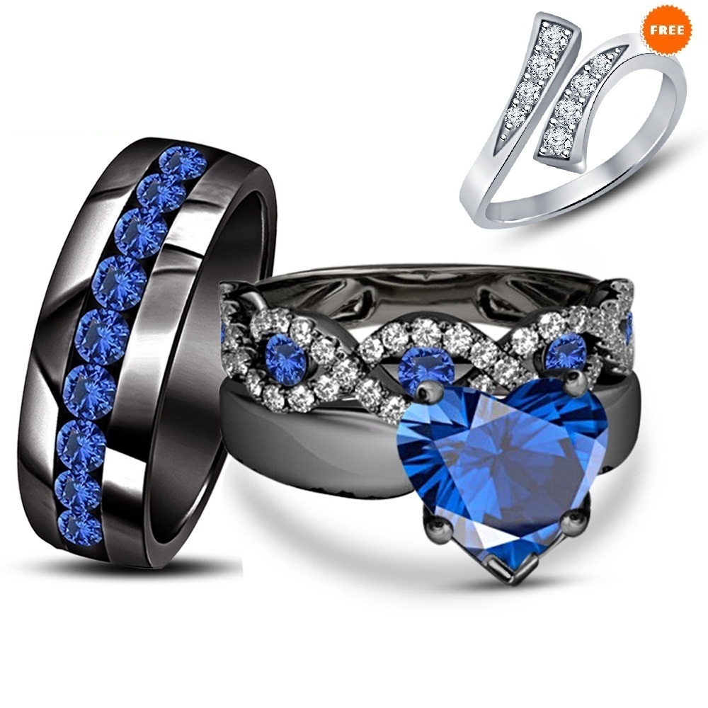 Heart Shape Blue Sapphire Pure 925 Silver Engagement Ring Trio Set W/ Free Gift