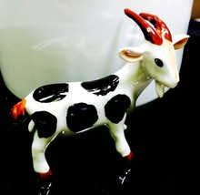 Figurine Goat Animal Mini Hand Paint Blown Art Gift Ceramic Vintage Gard... - $9.69