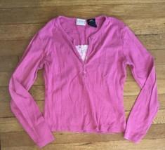 * arizona jean co pink bead layered long sleeve tee shirt top medium 10 ... - $4.51