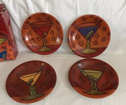 "Certified International Martini Desert Plates Set of 4 Happy Hour MIB 8"" Round - $29.99"