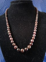 Handmade Graduated Garnet Beaded Necklace Z163 - $30.00