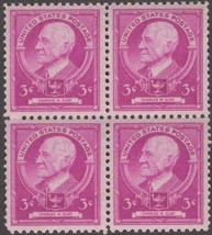 1940 Charles W Eliot Block of 4 US Postage Stamps Catalog Number 871 MNH