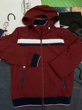 TOMMY HILFIGER WIND JACKET BURGUNDY NAVY LET's GET ATTENTION-XSMALL - $115.30