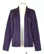 Eileen Fisher Purple Merino Wool Knit Cardigan Sweater Jacket Open Front... - $48.50