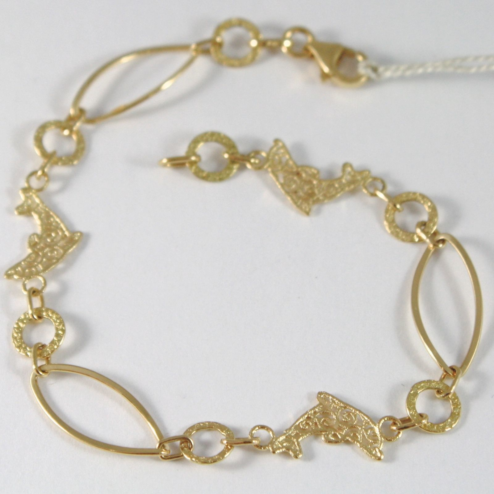 BRACELET YELLOW GOLD 750 18K WITH DOLPHINS SATIN WORKED, 18 CM LENGTH
