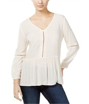 Calvin Klein Women's Casual Peasant V-Neck Blouse Top 113 Sz L IVORY NEW... - $28.04