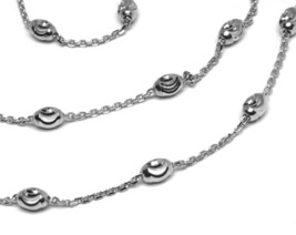 """18K WHITE GOLD ROLO ALTERNATE CHAIN NECKLACE 3mm FACETED OVAL BALLS 18"""" image 2"""