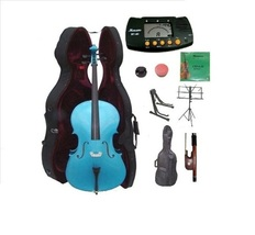 1/2 Size Blue Cello,Hard Case,Soft Bag,Bow,Strings,Metro Tuner,2 Stands,... - $399.99