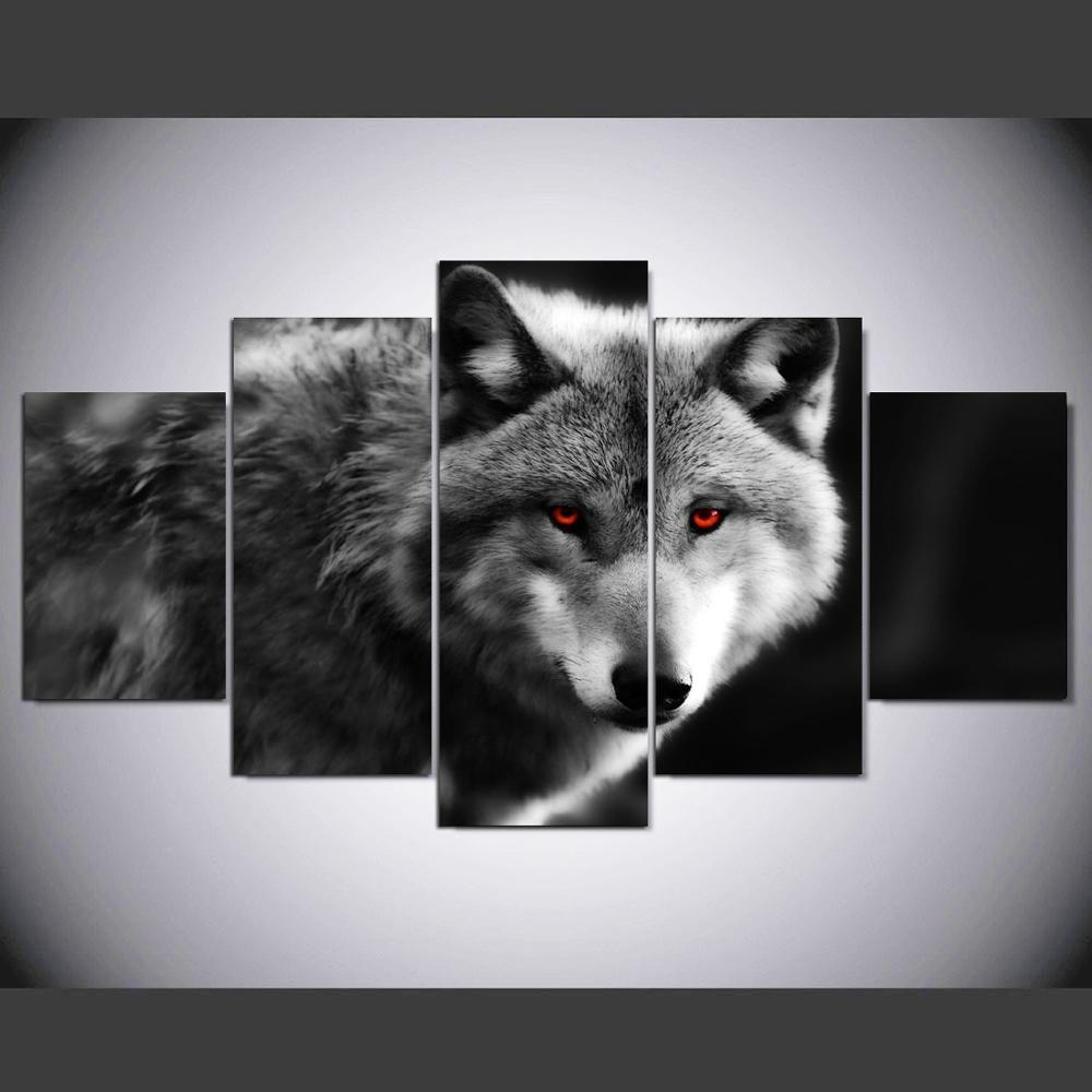 Wolf red eyes painting  5 Piece Canvas Art Wall Art Picture Home Decor for sale  USA