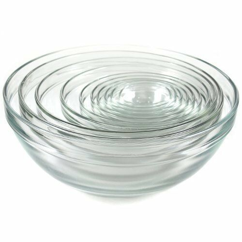 Glass Bowl Set 10pcs Nests Clear Classic Sizes & Styles Serving & Mixing DW Safe - $131.66