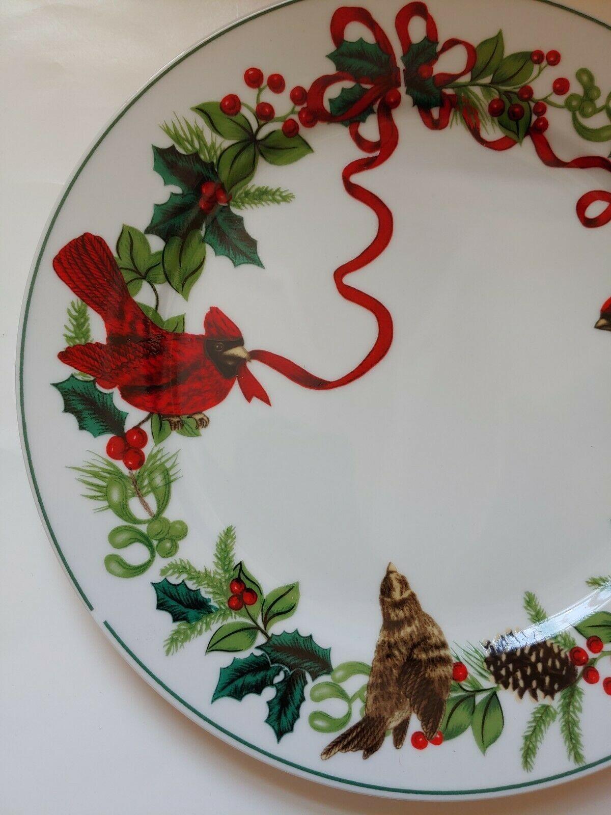 4 Royal Norfolk Dinner Plates Cardinal Christmas Red Holly Ribbon 10in Holiday - $29.69