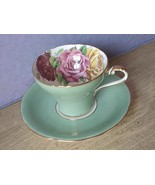 Vintage Aynsley Large pink yellow roses green bone china tea cup teacup - $167.31