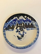 "Tienshan Folk Craft WOLF Salad Plate 7 5/8"" Blue Black Sponge - $4.95"