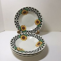"""4 Rimmed Soup Bowls Sunny Tabletops Unlimited Sunflowers 9"""" - $29.02"""