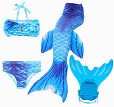 Kid Girl Mermaid Tail with Fin Costume Swimmable Blue Tail with Monofin swimwear - $31.99
