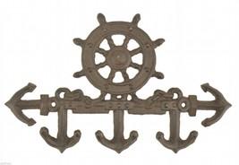 Cast Iron Wall Key Hook Ship Wheel & Anchor Rust Colored Nautical Beach Decor - $10.99