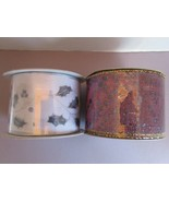 Metallic ribbon  lot of 2 spools  - silver leaves - purple gold dots 2-... - $12.20