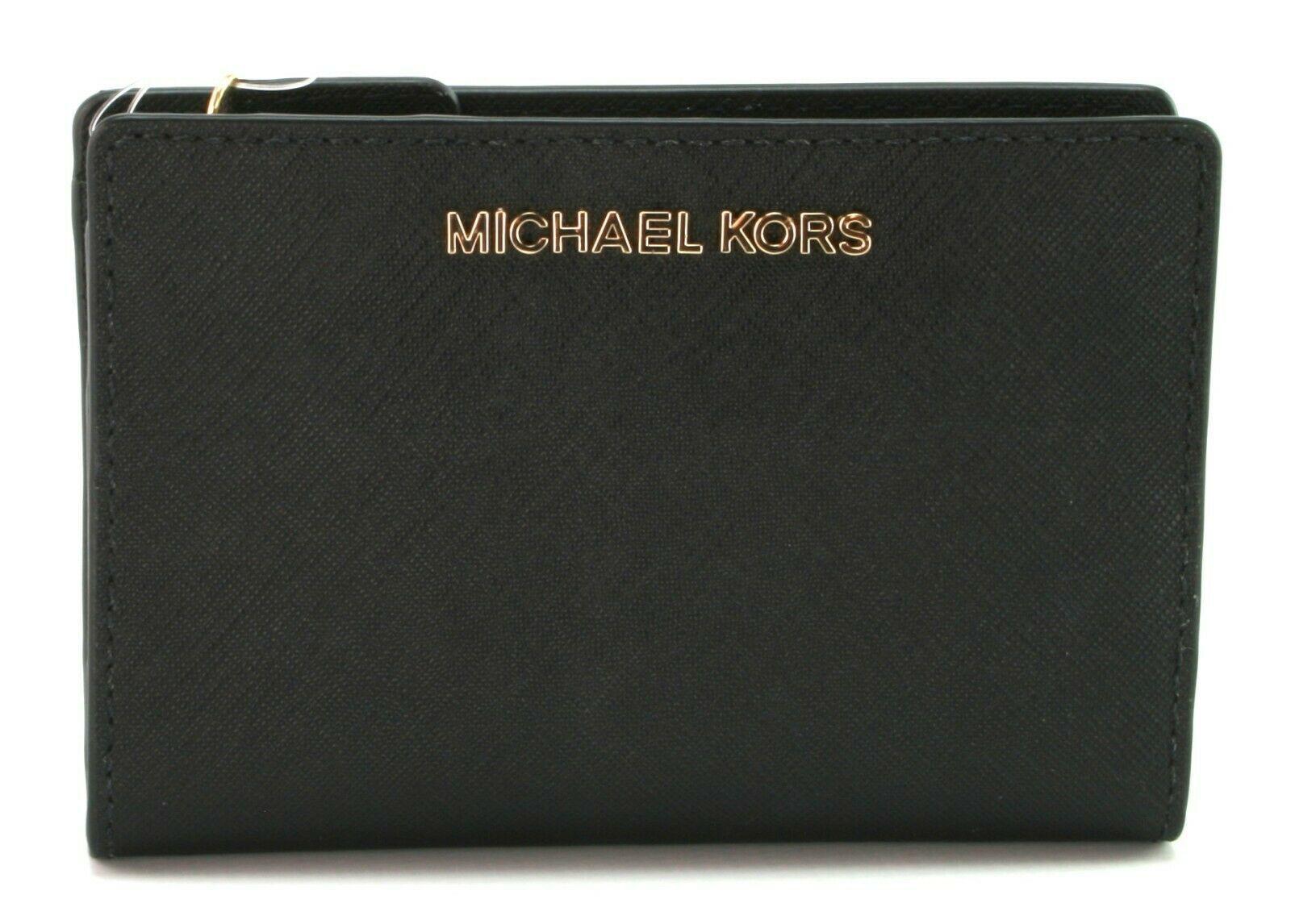 Michael Kors à Deux Volets Porte-Feuille Carryall Saffiano Cuir Noir M
