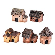 Danmu 5pcs (5 Styles) Mini Resin Primitive Tribal House Miniature House ... - $10.05