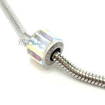 Swarovski European Fit Bracelet Charm Stainless BeCharmed Pave Baguette Crystal image 4