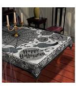 "Ghost Webs Jack'O Lanterns Bats 60"" X 84"" Black Lace Halloween Tableclot... - $12.73"