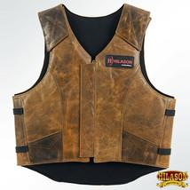 Hilason Leather Bareback Pro Rodeo Horse / Bull Riding Vest Brown U-V126 - $148.95