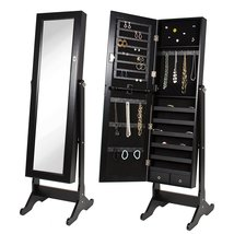 Black Mirrored Jewelry Cabinet Armoire With Stand Mirror | Light bulb Ve... - €100,22 EUR+