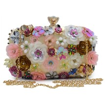 Women Flower Clutch Champagne Evening Party Bag Small Purse Cute Sequin ... - $49.99