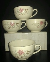 """4 Vintage Mount Clemens/MCP (McCoy) Pottery USA Coffee Cups """"Blushing Rose"""" - $7.37"""