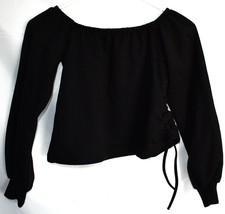 Boohoo Off Shoulder Black Cropped Sweatshirt with Drawstring Side US 4 | UK 8 image 2