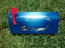 Hand Painted Mailbox Blue crabs underwater animal sea life nautical fish... - $89.00
