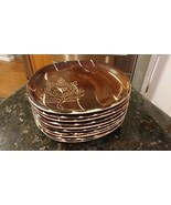 Vintage Lot 10 PURITA POTTERY Slip Ware Brown W/Flower Intaglio Plates 8... - $173.15
