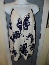 Lucky Brand Navy/Cream Applique Crepe Blouse Tank Top Size M Women's NWOT - $24.00