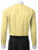 Berlioni Italy Men's Classic White Collar & Cuffs Yellow Dress Shirt w/ Defect image 3
