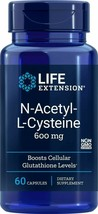 NEW Life Extension N-Acetyl-L-Cysteine Non-GMO 600mg 60 Vegetarian Capsules - $13.48