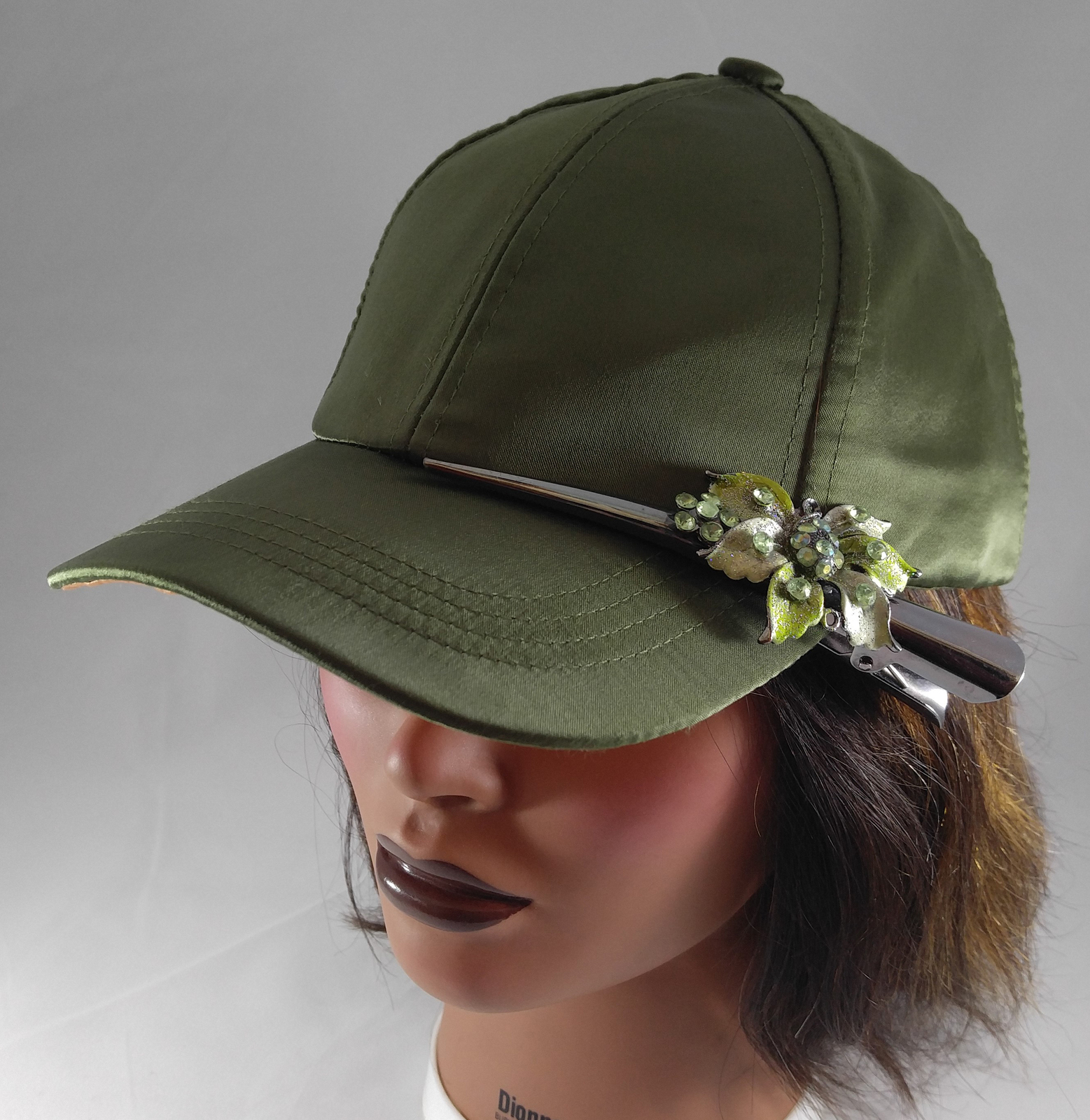 e3bcb9aedc0 Woman s Green Baseball Cap w Gunmetal Grey and 50 similar items