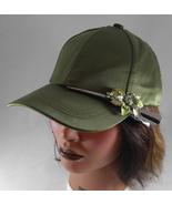 Woman's Green Baseball Cap w Gunmetal Grey Sparkly Rhinestone Hairclip F... - $27.95