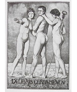 NUDE EX LIBRIS Naked Man & Two Graces - 1922 Lichtdruck Print - $19.80