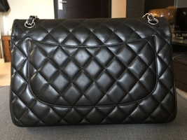 100% Authentic Chanel BLACK QUILTED LAMBSKIN JUMBO CLASSIC DOUBLE FLAP BAG SHW image 3
