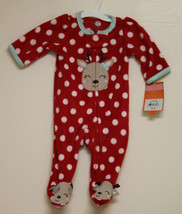 New! Just One You by Carters Fleece Sleeper Polka Dot w/ Reindeer Red Newborn - $7.91