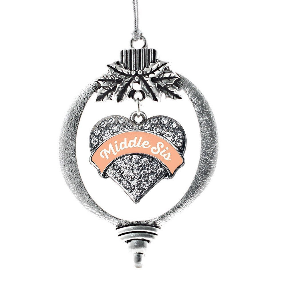 Primary image for Inspired Silver Peach Middle Sister Pave Heart Holiday Christmas Tree Ornament W