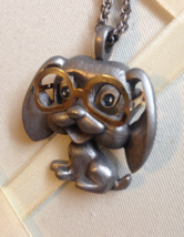 Vintage Pewter Dog Moveable Glasses Signed Fab Fashion Necklace - $45.00