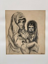 BLUTAL BLUTTAL MOTHER WITH CHILD 1960'S DRAWING GRAPHITE CHARCOAL PASTEL... - $40.50