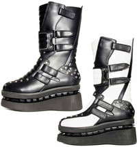 Hades STORM Black White Studded Punk Goth Platform Boots Women's Stormtr... - $162.00