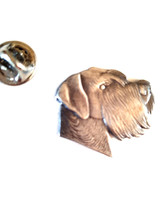 dog head pewter clip on rear Pin ,Badge / tie pin unisex gift